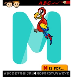 letter m with macaw cartoon vector image