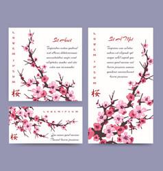 Sakura blossoms cards templates vector