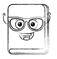 Text book with glasses kawaii character vector