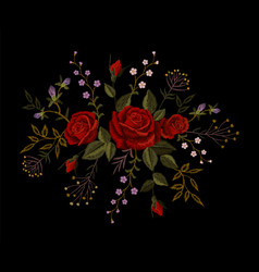 Red rose embroidery on black background satin vector