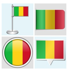 Mali flag - sticker button label flagstaff vector