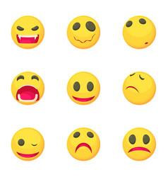 funny emoji icons set cartoon style vector image