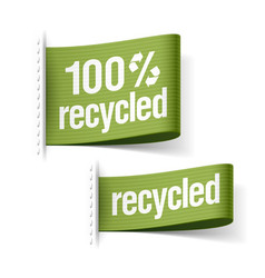 Recycled product labels vector image