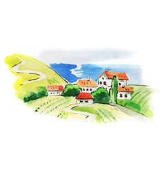 Painted watercolor vineyard landscape vector