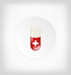 Red capsule pill with medical cross vector