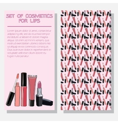 Leaflet with improved formula cosmetics for lips vector