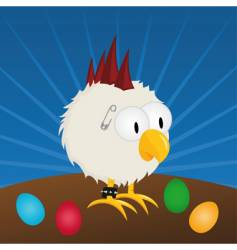 Easter punk rooster vector