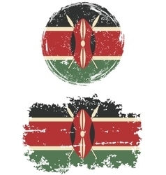 Kenyan round and square grunge flags vector