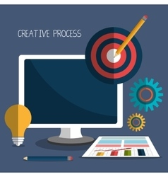 Creative process design with colorful icons vector