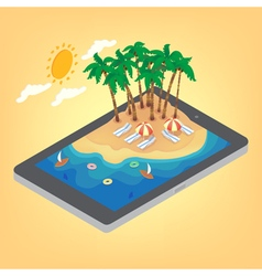 Summertime tropical vacation isometric concept vector