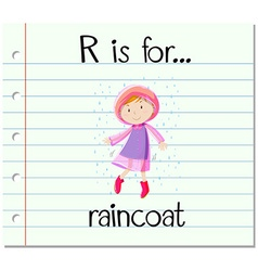 Flashcard letter r is for raincoat vector