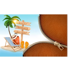 Summer vacation background with a zipper vector