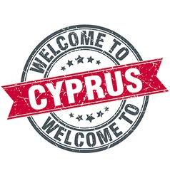 Welcome to cyprus red round vintage stamp vector