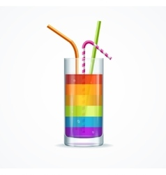 Rainbow cocktail glass vector