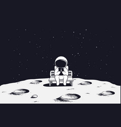 Astronaut with mobile phone on moon vector