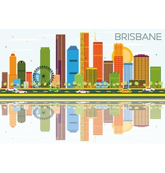 Brisbane Skyline with Color Buildings vector image