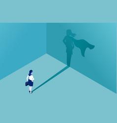 Businesswoman superhero shadow vector