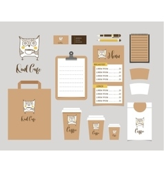 Cafe Stationery Coffee shop Branding Mock-up vector image