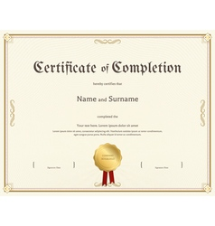 Certificate of completion template vintage theme vector