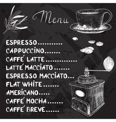 Chalkboard Coffee Menu Design vector image vector image