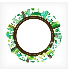 Circle with green city vector