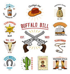 Cowboy set badges wild west rodeo or indians vector