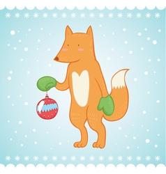 Cute fox Christmas greeting card vector image vector image