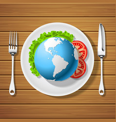fork with knife and globe on plate vector image vector image