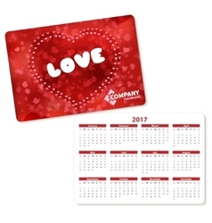 Horizontal pocket calendar vector image