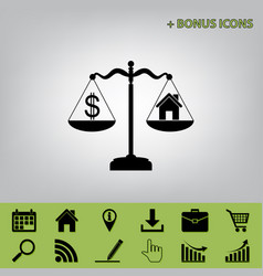 House and dollar symbol on scales black vector