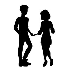 man and woman silhouette vector image vector image