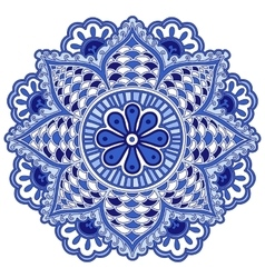 Mandala flower of circular elements Blue ethnic vector image