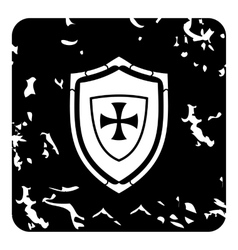 Military shield icon grunge style vector