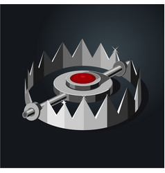 old metalic hunter trap cartoon style isolated vector image