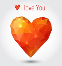 Orange and red triangle heart vector image vector image