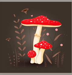 Postcard with mushrooms toadstool red on a floral vector