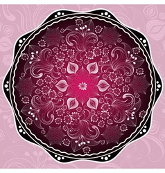 purple round floral frame vector image vector image