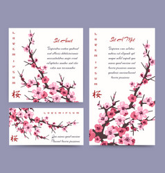 Sakura blossoms cards templates vector