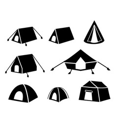 Set of tent icons in silhouette style vector