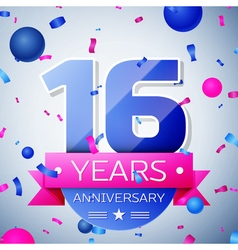 Sixteen years anniversary celebration on grey vector image vector image