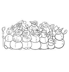 snowmen group cartoon coloring book vector image vector image