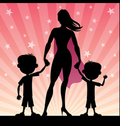 super mom 2 sons vector image vector image