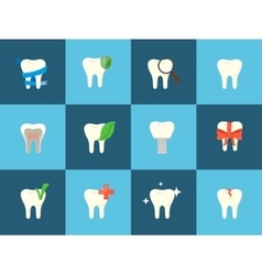 Teeth icons with various elements vector