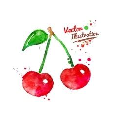 Watercolor cherries vector