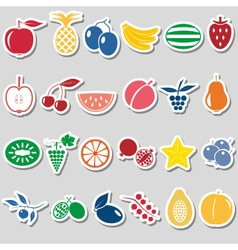 Fruit theme color simple stickers icons set eps10 vector