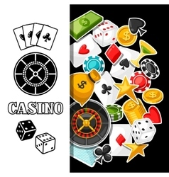 Casino gambling background design with game vector
