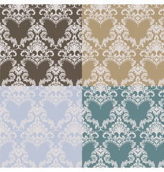 Vintage damask pattern set vector