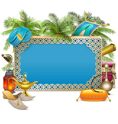 Arabic frame with palm tree vector