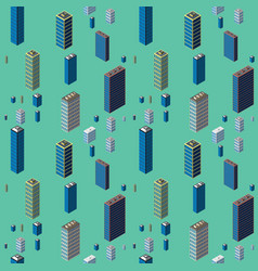 Isometric buildings seamless pattern vector