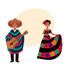 Mexican man and woman in traditional national vector